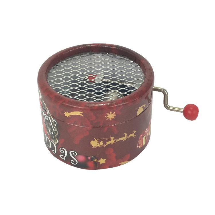 NUTAKE Round shape full printing cardboard hand crank cylinder music box 55851202