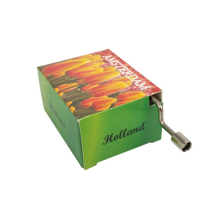 NUTAKE Custom pattern and music Full printing paper box with wooden base hand crank music box 55851205
