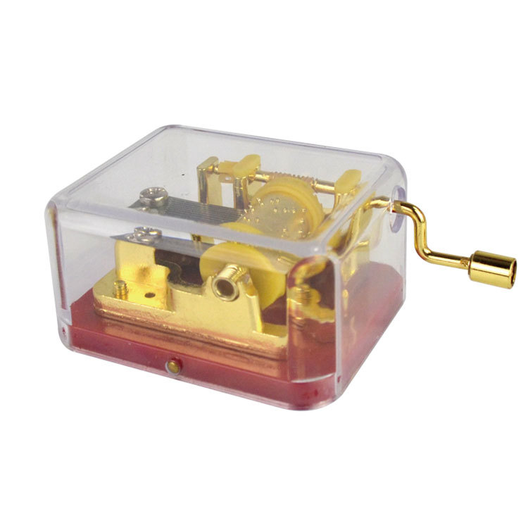 NUTAKE 10105003-1A Gilded hand crank movement manual transparent clear plastic music box 10105003-1A