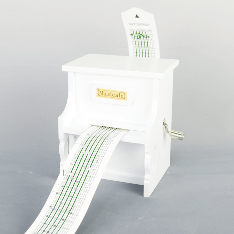 White paint finished upright piano shape hand crank paper tape custom made music box 55805303