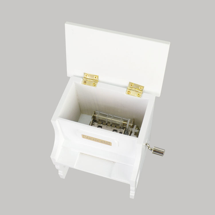 White paint finished wooden hand crank paper tape music box programmable 55085106