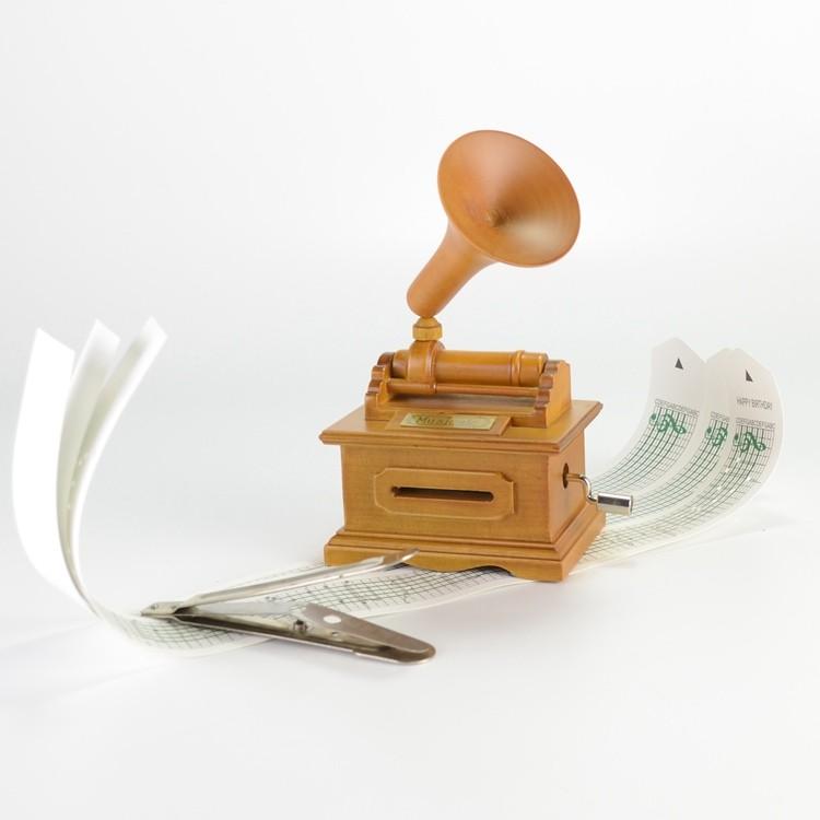 Wooden gramophone shape hand crank custom music box 55805305
