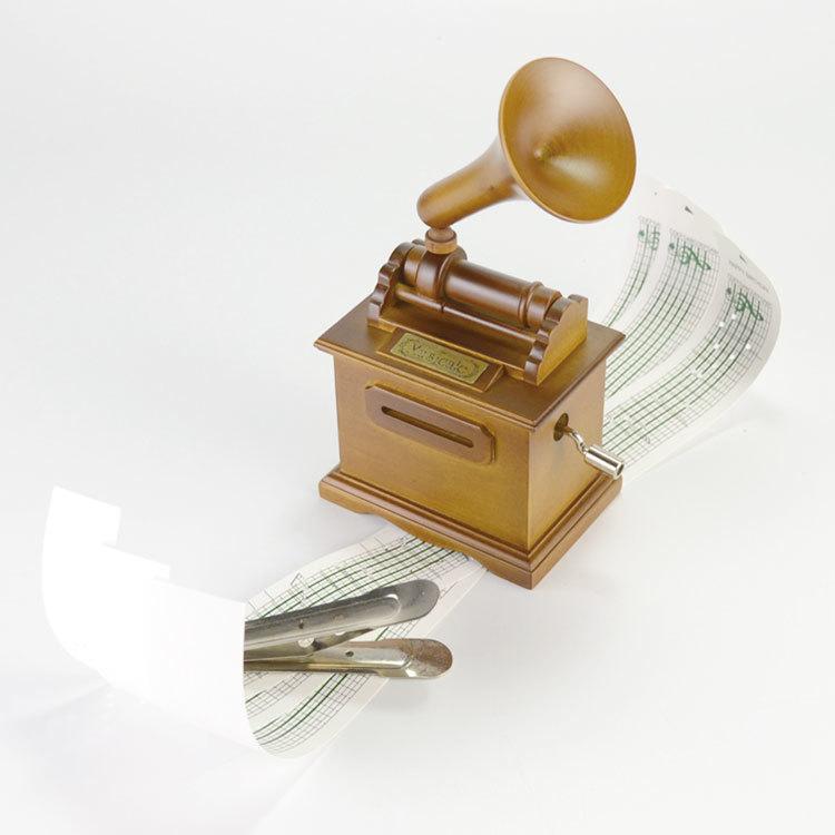 Brown colour wooden gramophone DIY hand crank paper music box 55805306