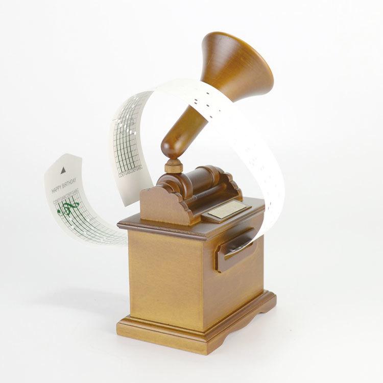 Brown colour wooden gramophone DIY hand crank paper music box 55085108