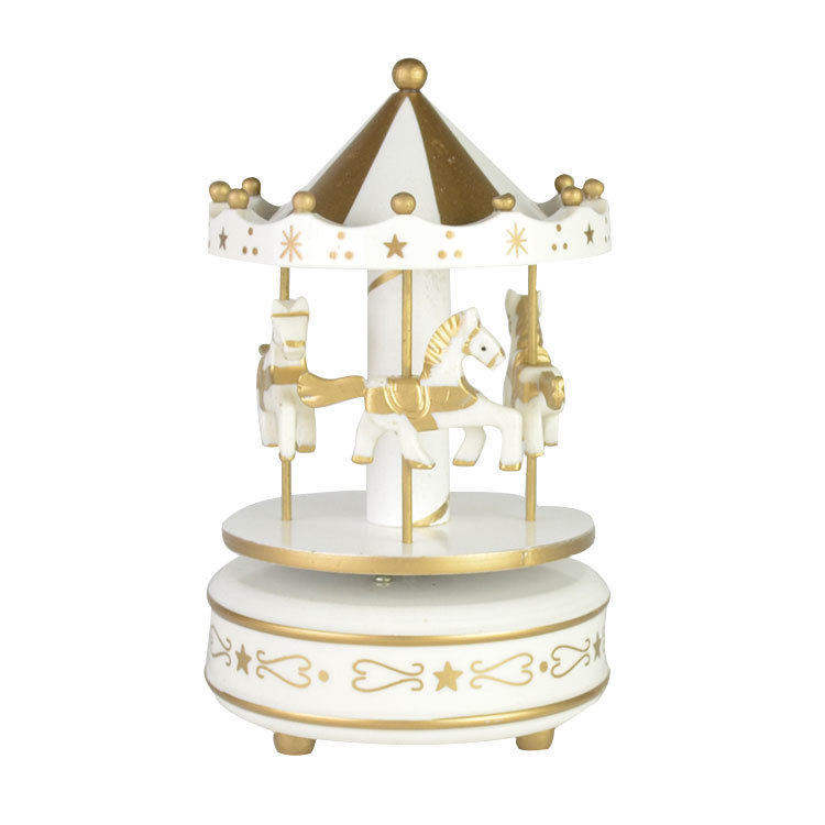 Gold&white colour wooden carousel horse music box 81501503