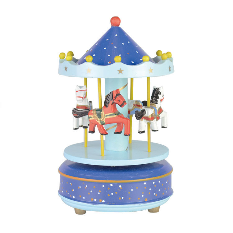 Size dia.11xH18cm factory direct selling wind up carousel wooden music box 81501505