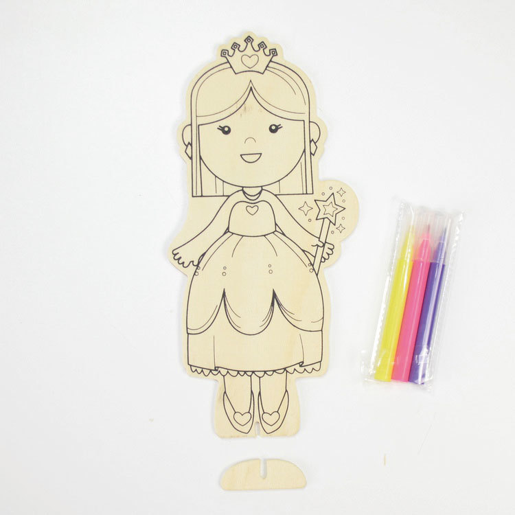 Girl pattern with 3pcs water color pen wood diy toy for kids age 3 #55851005