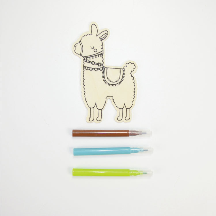 Wooden childrens alpaca toy set painting diy wooden toy with 3pcs watercolour pen 55851023