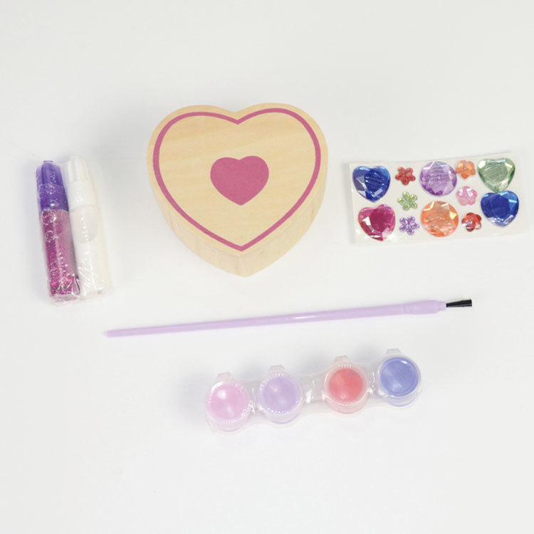 Wooden heart shape jewelry box diy drawing toy kits 55851041