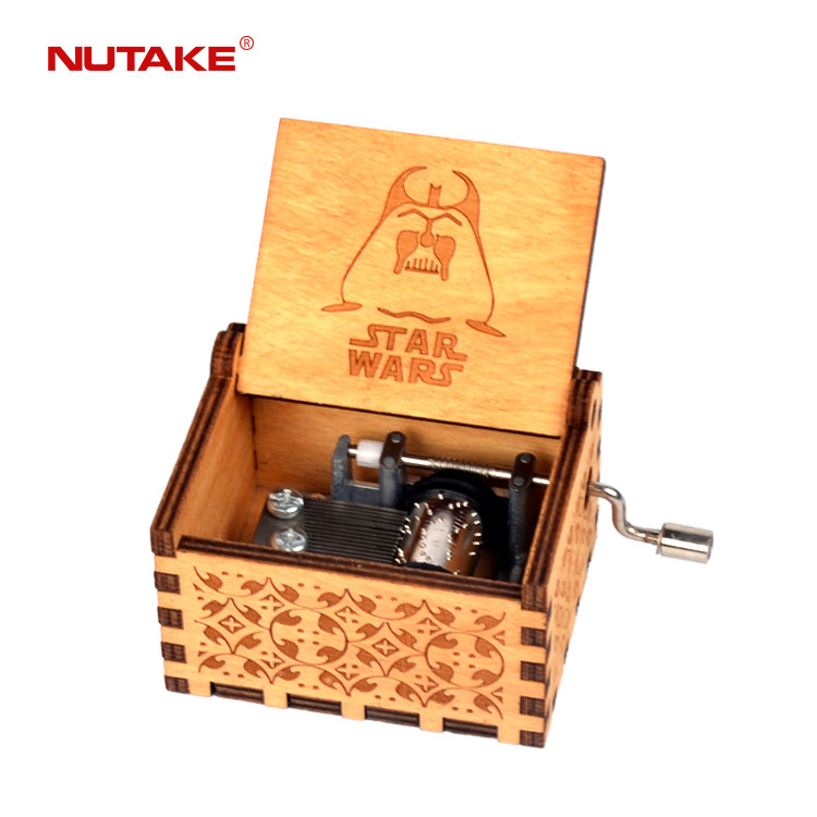 New black STAR WARS theme wooden crank music box 55805101-03