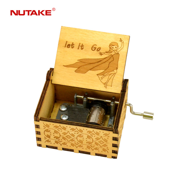 Let it go wooden hand crank custom musical box custom made 55805101-11