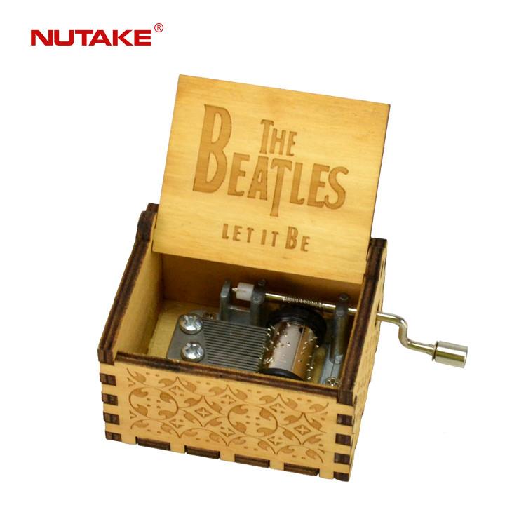 Custom blue colour wooden music box crank beatles 55805101-12