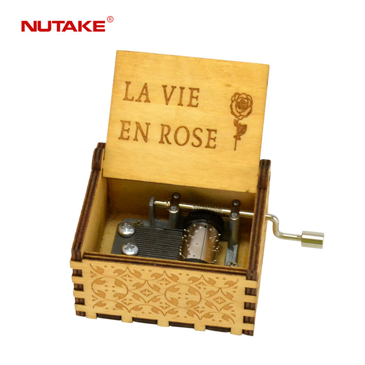 LA VIE EN ROSE custom music hand crank personalised music box 55805101-17