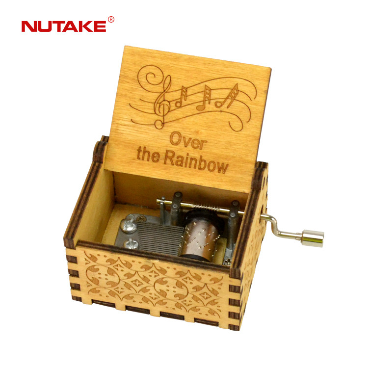 Over The Rainbow Customised hand crank classic wood musical boxes 55805101-22