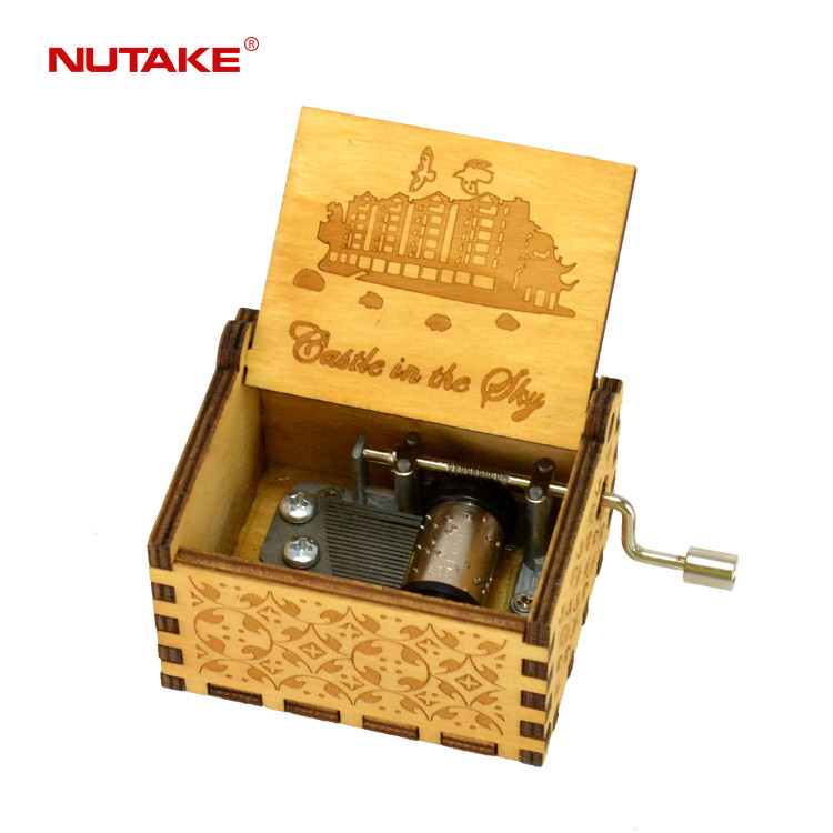 Custom wooden hand crank musical box with castle in the sky city 55805101-23