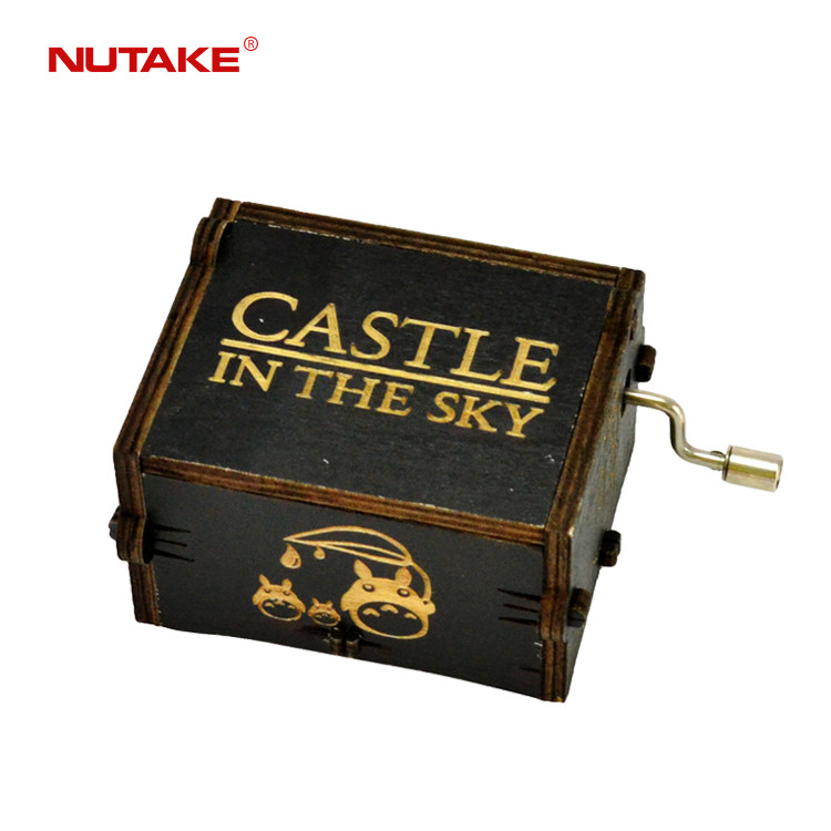 Castle in the sky custom mechanical wood carved mechanism personalized musical box 55805102-11