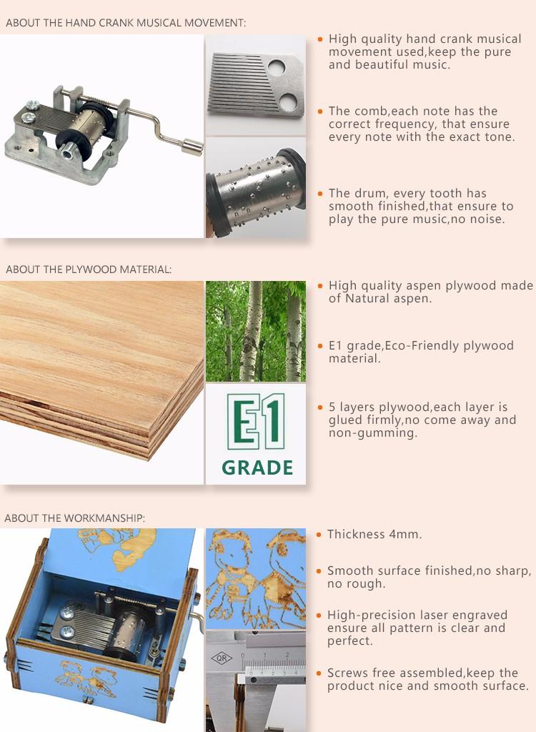 Wholesale hand crank wooden music box company bulk production-5