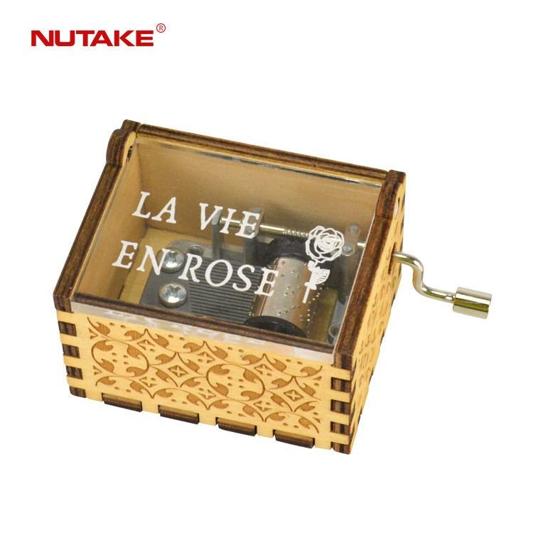 Laser cut wooden hand cranked play power sound music box 55805103-02