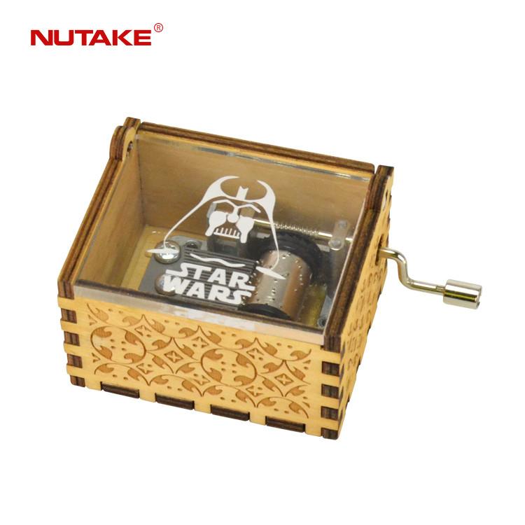 Plastic acrylic lid star wars hand crank film theme wooden custom mini music box 55805103-08