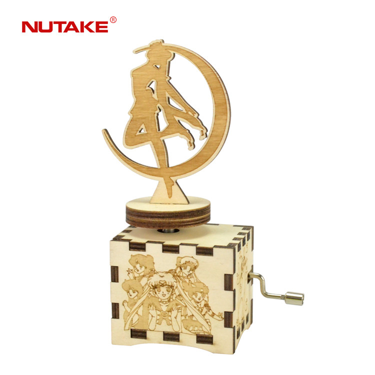 Engraved wooden craft hand crank love umbrella mechanical music box 55805104-06