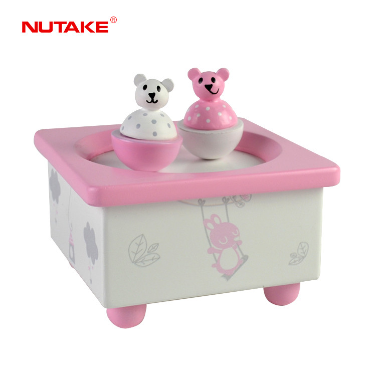 Lovely gift spinning twin bears music box for girls 55803203