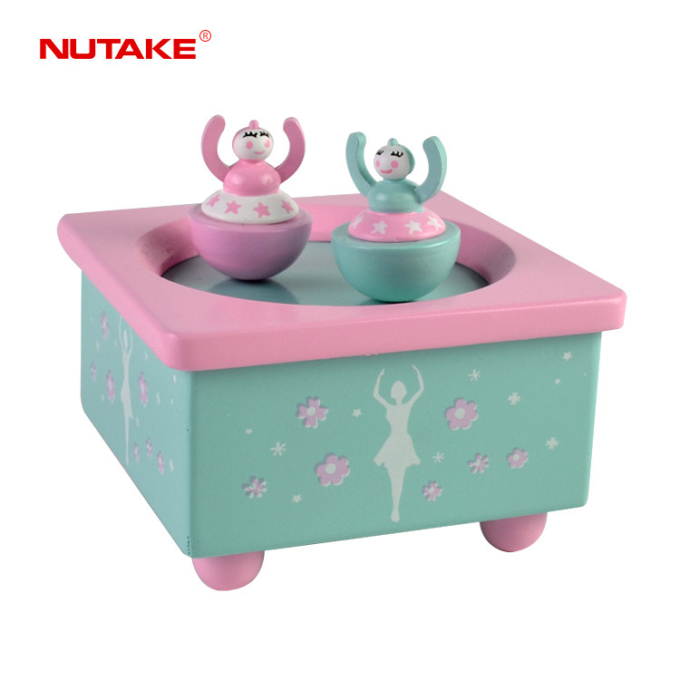 Two ballerina dancer rotatable dancing wind up girl music box 55803206