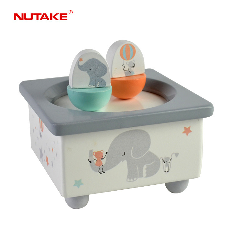 Animal Children Toy Wooden Magnetic dancing Elephant and mouse baby music box 55803212