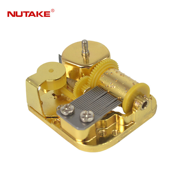 18 note gilded upper shaft winding music box mechanism 10188002-3