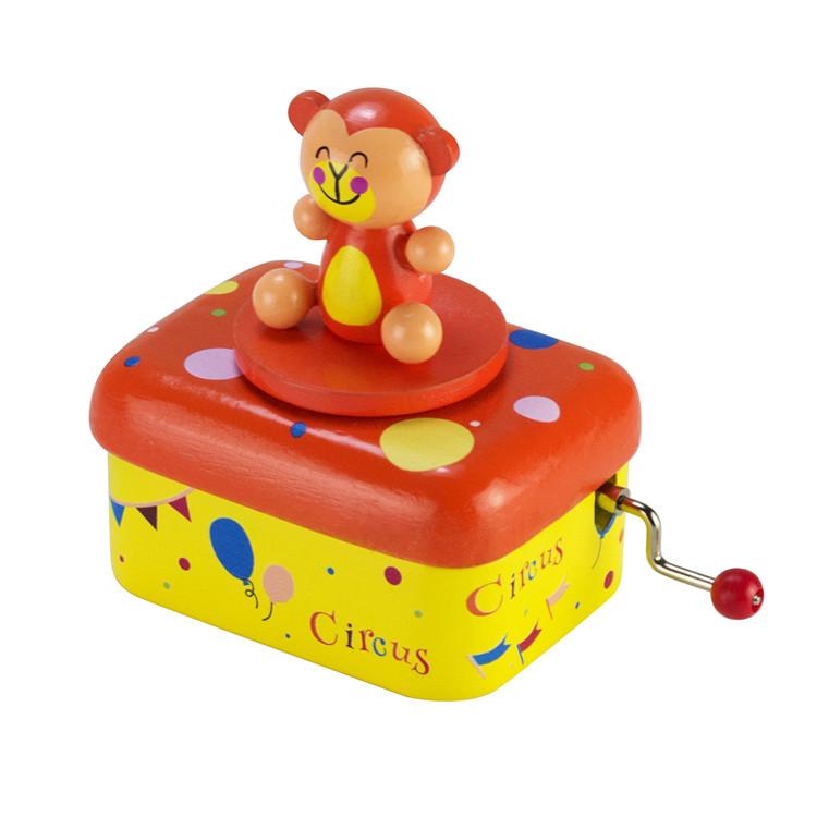 Wooden Children hand crank music box 55803501-02