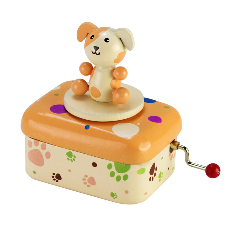 Wooden Children Hand crank music box 55803501-03