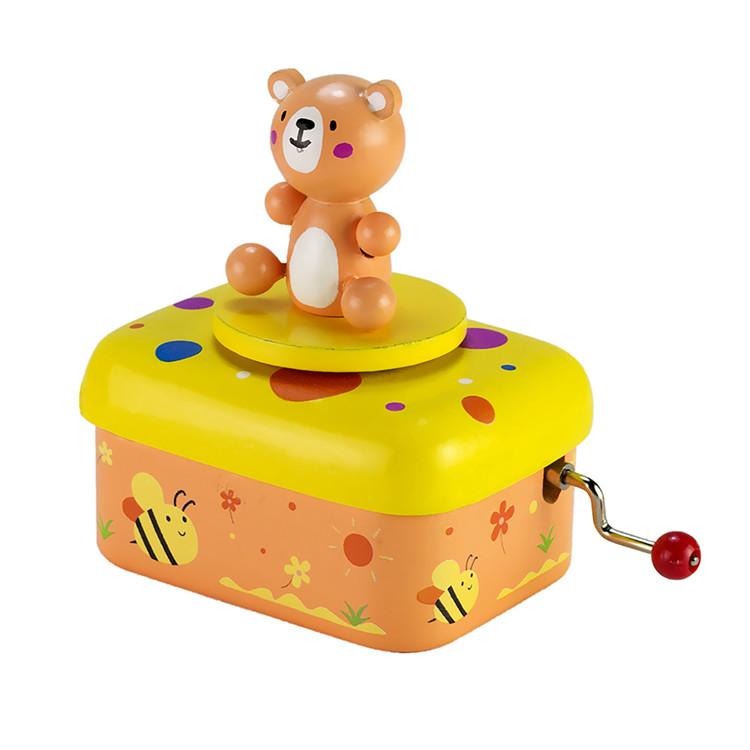 Wooden Children Hand crank music box 55803501-04