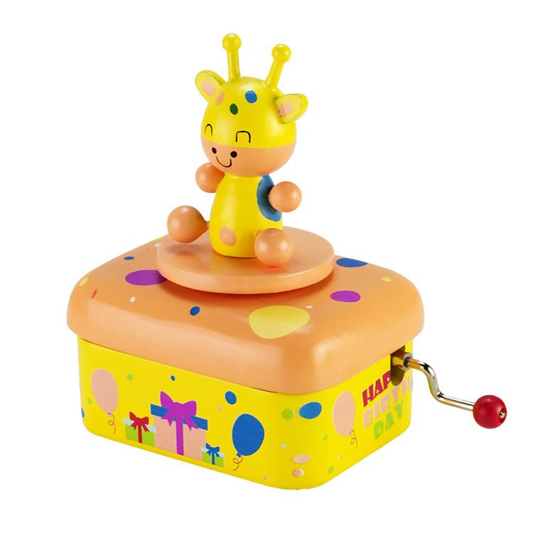 Wooden Children hand crank music box 55803501-05