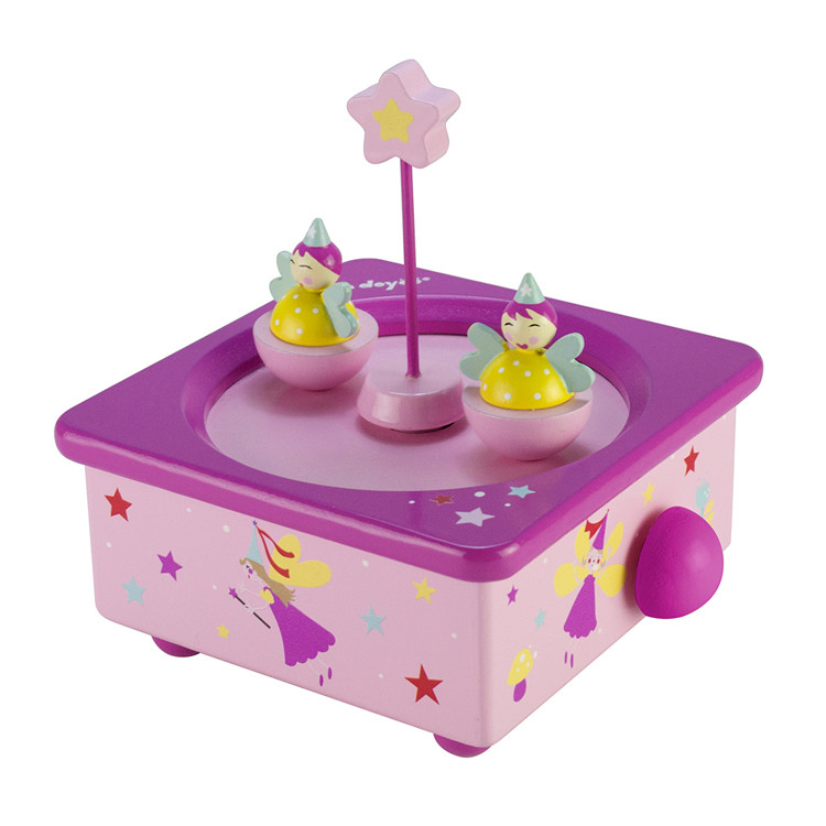 Wooden Children Center Spinning 2 Dolls Dancing Music Box 55803301C-03